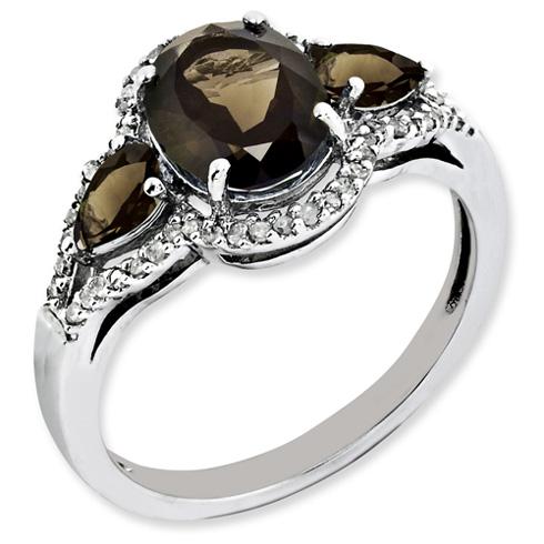 1.72 ct Sterling Silver Diamond and Smokey Quartz Ring