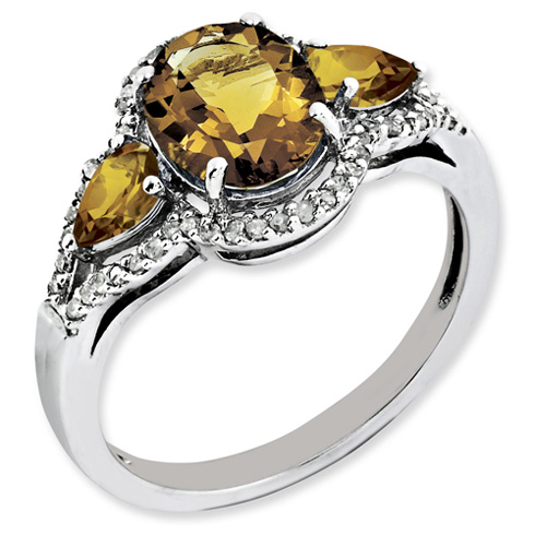 2.12 ct Sterling Silver Whiskey Quartz and Diamond Ring