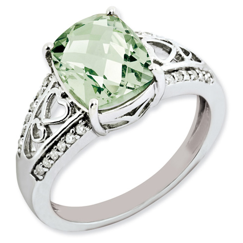 2.91 ct Sterling Silver Diamond and Green Quartz Ring