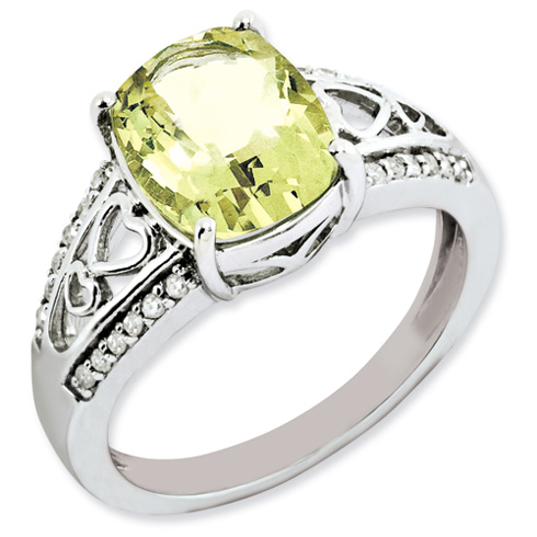 2.91 ct Sterling Silver Diamond and Lemon Quartz Ring