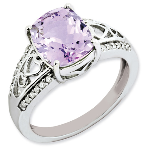 2.91 ct Sterling Silver Diamond and Pink Quartz Ring
