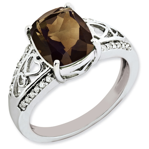 2.91 ct Sterling Silver Diamond and Smokey Quartz Ring