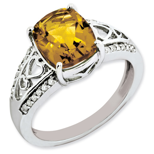 2.91 ct Sterling Silver Diamond and Whiskey Quartz Ring
