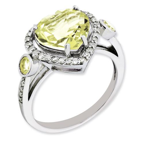 3.2 ct Sterling Silver Diamond and Lemon Quartz Ring