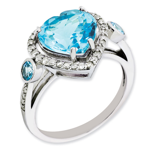 4.6 ct Sterling Silver Diamond and Light Swiss Blue Topaz Ring