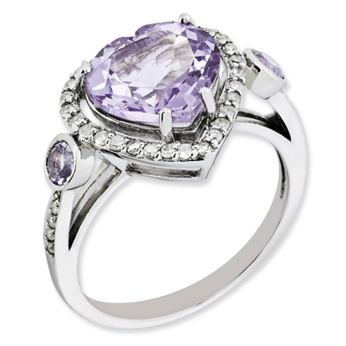 Sterling Silver 3.12 ct Heart Pink Amethyst Ring with Diamonds