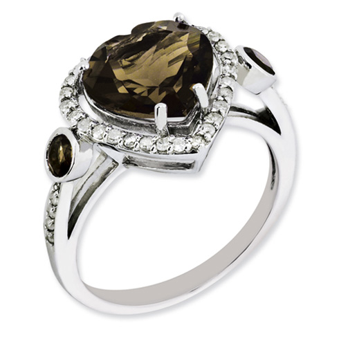 3.2 ct Sterling Silver Diamond and Smokey Quartz Gemstone Ring