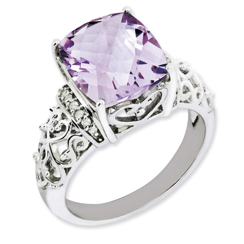 Sterling Silver Fancy 5.45 ct Pink Quartz Ring with Diamonds