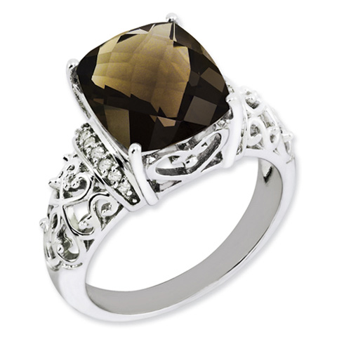 5.45 ct Sterling Silver Diamond and Smokey Quartz Ring