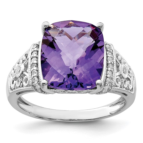 Sterling Silver 5.45 ct Amethyst and Diamond Ring with Scroll Design