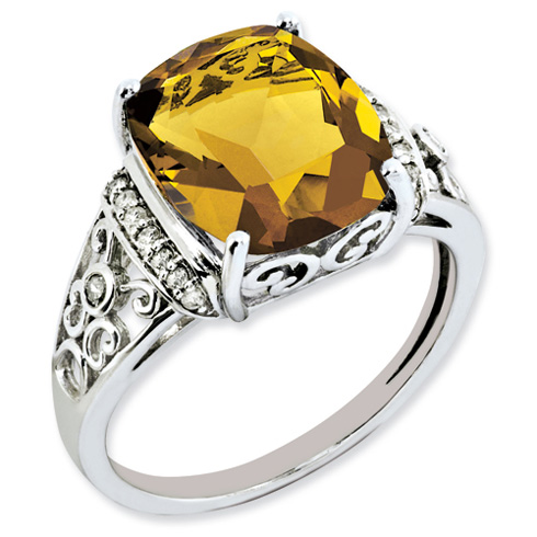 5.45 ct Sterling Silver Diamond and Whiskey Quartz Ring