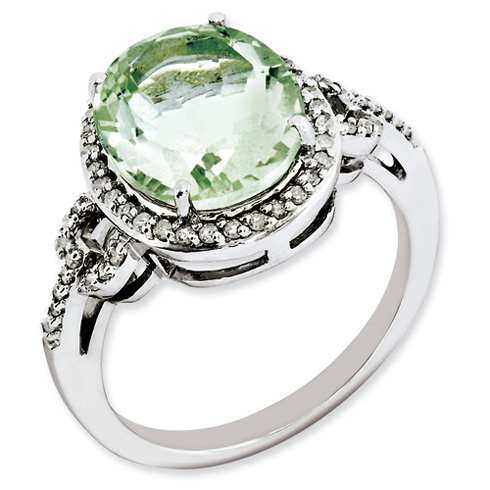 4.55 ct Sterling Silver Diamond and Green Quartz Ring