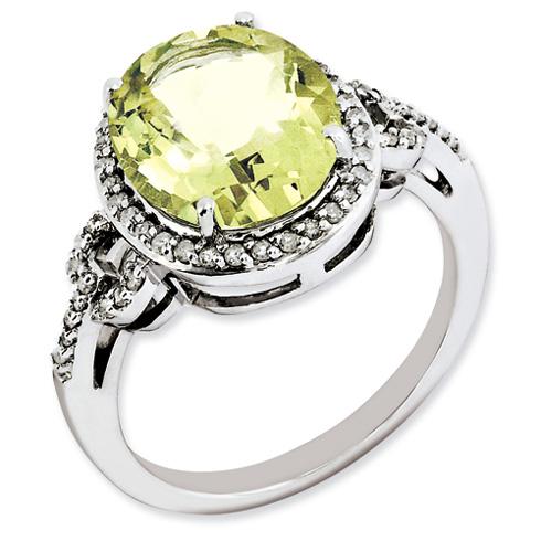 4.55 ct Sterling Silver Diamond and Lemon Quartz Ring