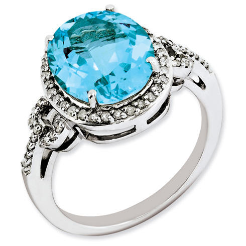 6 ct Sterling Silver Diamond and Light Swiss Blue Topaz Ring