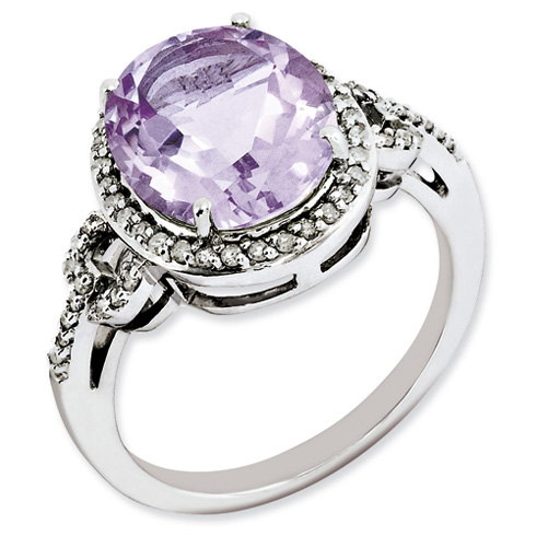 4.55 ct Sterling Silver Diamond and Pink Quartz Ring