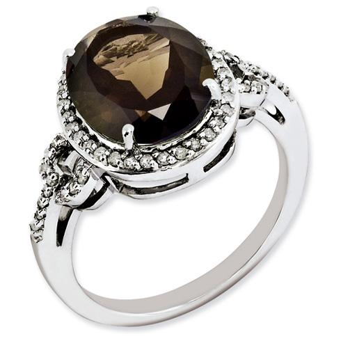 4.55 ct Sterling Silver Diamond and Smokey Quartz Ring