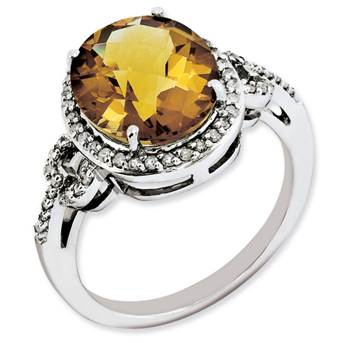 4.55 ct Sterling Silver Diamond and Whiskey Quartz Ring