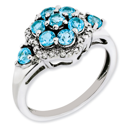 Sterling Silver Light Swiss Blue Topaz Cluster Ring with Diamonds