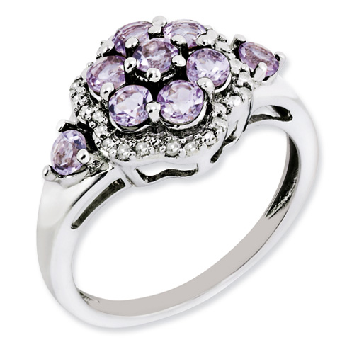 Sterling Silver 1.08 ct Pink Amethyst Cluster Ring with Diamonds