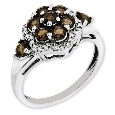 Sterling Silver 1.35 ct Smoky Quartz Cluster Ring with Diamonds