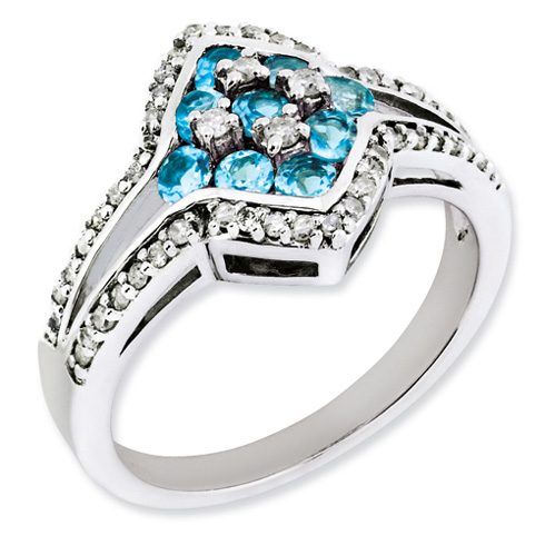 0.72 ct Sterling Silver Diamond and Light Swiss Blue Topaz Ring