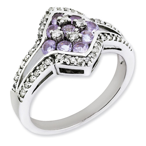 0.54 ct Sterling Silver Diamond and Pink Amethyst Ring