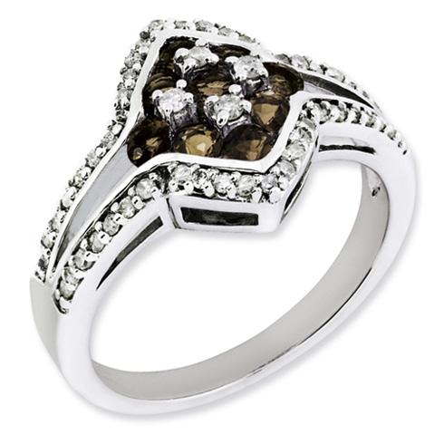0.54 ct Sterling Silver Diamond and Smokey Quartz Gemstone Ring