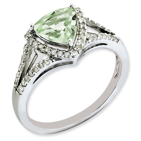 1.02 ct Sterling Silver Diamond and Green Quartz Ring