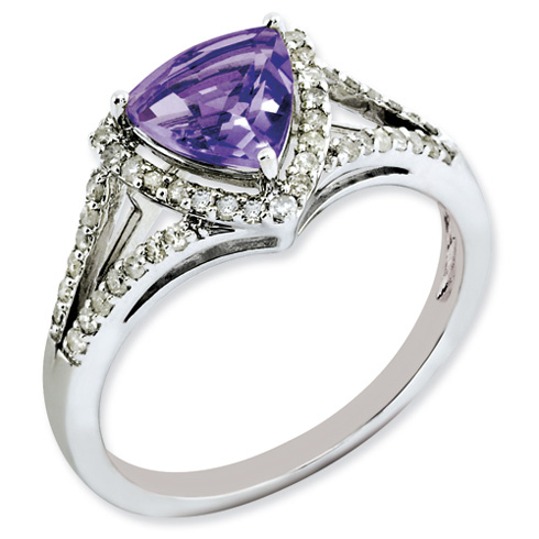 1.02 ct Sterling Silver Amethyst and Diamond Ring