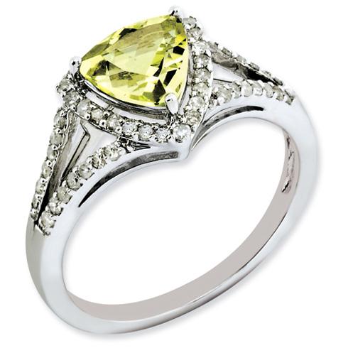 1.02 ct Sterling Silver Diamond and Lemon Quartz Ring