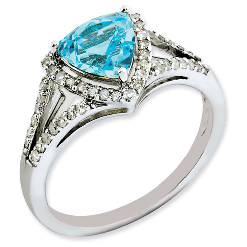 1.55 ct Sterling Silver Diamond and Light Swiss Blue Topaz Ring
