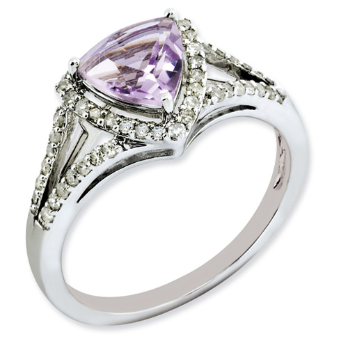 1.02 ct Sterling Silver Diamond and Pink Quartz Ring