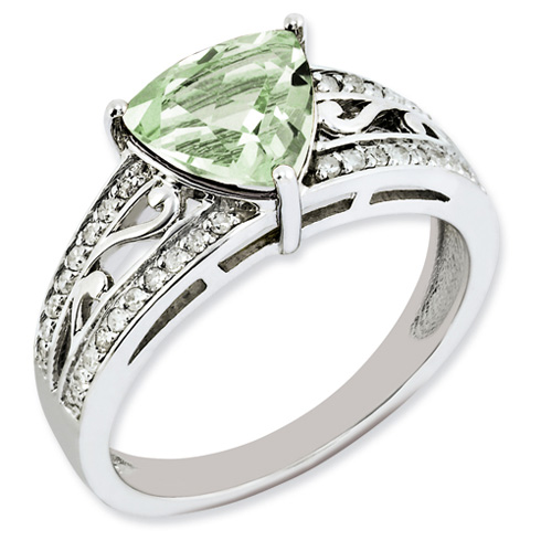1.56 ct Sterling Silver Diamond and Green Quartz Ring
