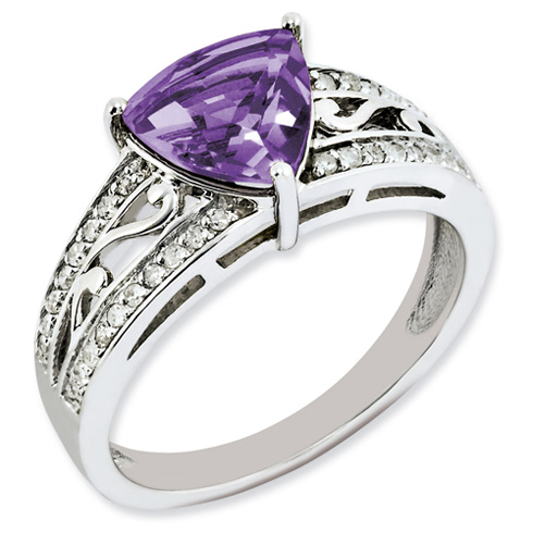 1.56 ct Sterling Silver Amethyst and Diamond Ring