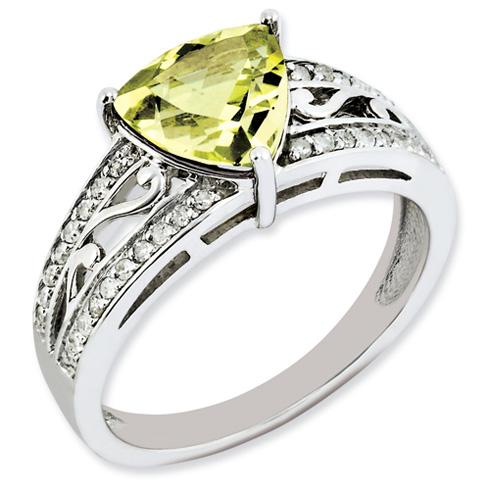 1.56 ct Sterling Silver Diamond and Lemon Quartz Ring