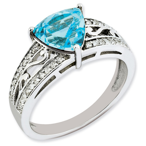 2.3 ct Sterling Silver Diamond and Light Swiss Blue Topaz Ring