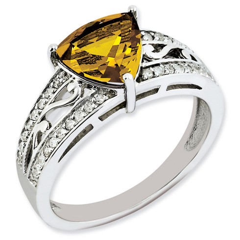 1.56 ct Sterling Silver Diamond and Whiskey Quartz Ring