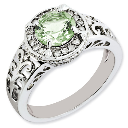 1.25 ct Sterling Silver Diamond and Green Quartz Ring