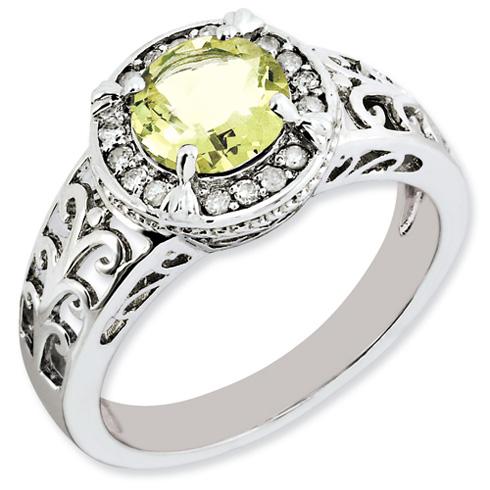 1.25 ct Sterling Silver Diamond and Lemon Quartz Ring