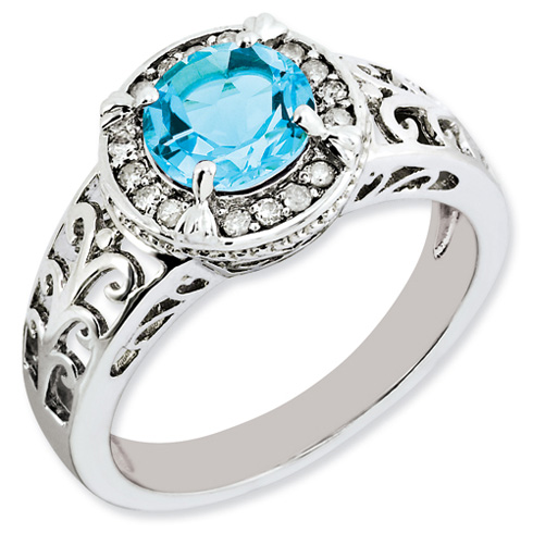 1.6 ct Sterling Silver Diamond and Light Swiss Blue Topaz Ring