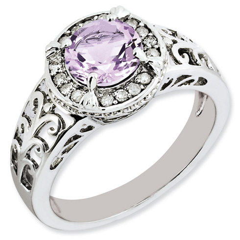 1.25 ct Sterling Silver Diamond and Pink Quartz Ring