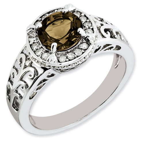 1.25 ct Sterling Silver Diamond and Smokey Quartz Ring