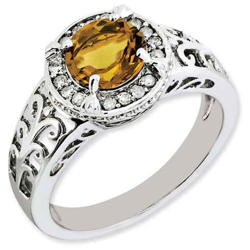 1.25 ct Sterling Silver Diamond and Whiskey Quartz Ring