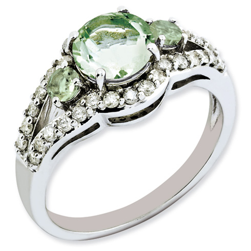 1.25 ct Sterling Silver Green Quartz and Diamond Ring