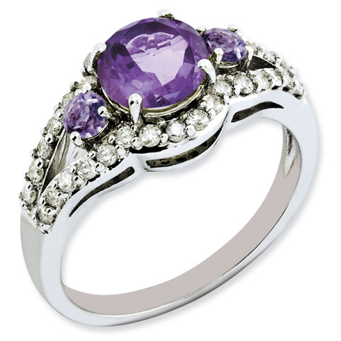 1.1 ct Sterling Silver Amethyst and Diamond Ring