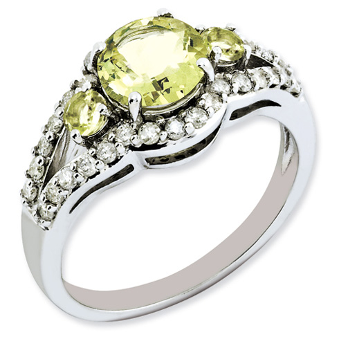 1.25 ct Sterling Silver Diamond and Lemon Quartz Ring
