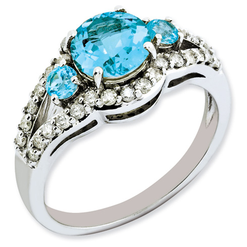Sterling Silver 1.82 ct 3-Stone Light Swiss Blue Topaz Ring