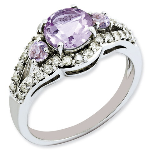 1.47 ct Sterling Silver Diamond and Pink Quartz Ring