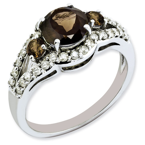 1.25 ct Sterling Silver Diamond and Smokey Quartz Ring