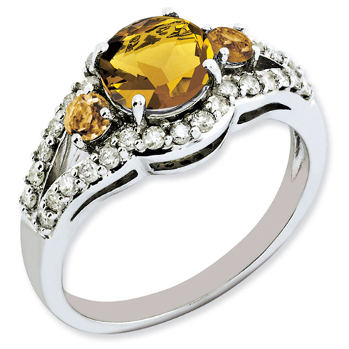 1.47 ct Sterling Silver Whiskey Quartz and Diamond Ring